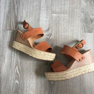Soda Trip Espadrille Wedge Sandals, Tan, Sz 8